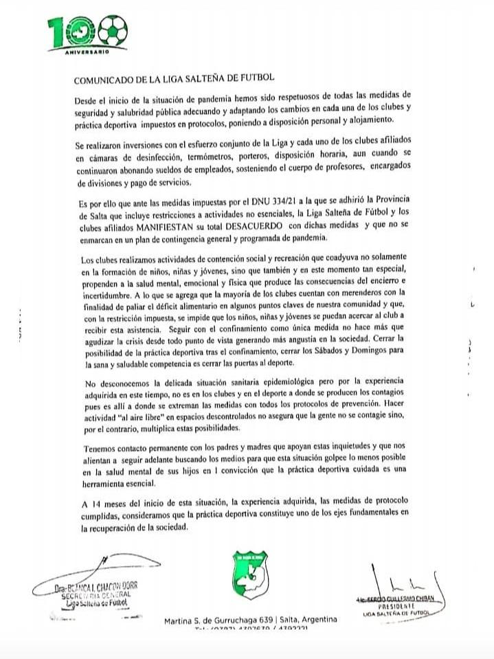 Comunicado de Prensa sobre el desacuerdo a las medidas del DNU 334/21